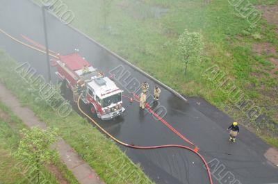 Fire Trucks in Smoke