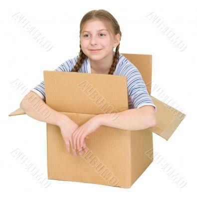 Kawaii girl in the cardboard box