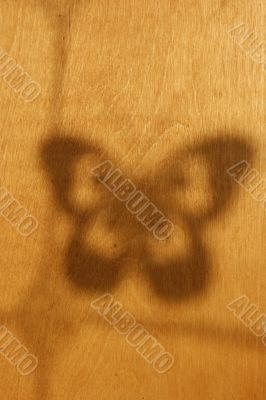 Shade of the butterfly on a wooden yellow wall