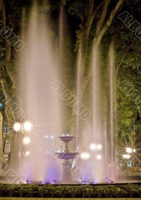 Bright fountain at night.