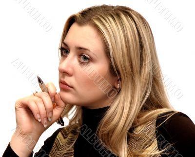 buisness girl thinking isolated om white