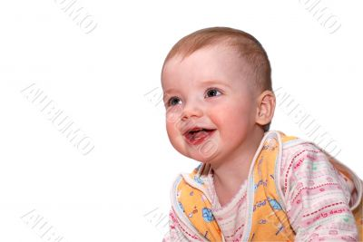 cheerful laughing baby over white