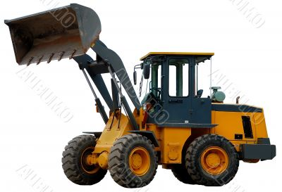 Wheel loader with bucket over white
