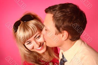 Pink kissing