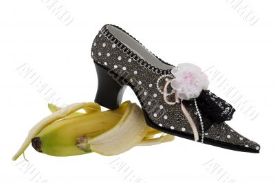 Lady shoe, slip on banana