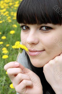 brunette lies on herb