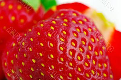 Close up of a strawberry.