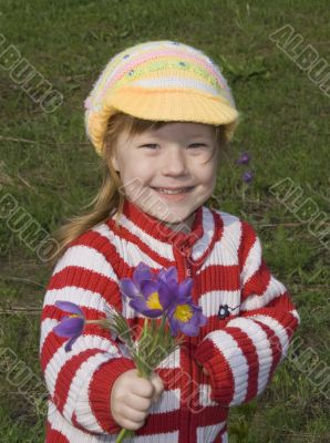happy girl is reaching out bunch of flowers