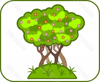 Illustrations of colorful vector green floral tree