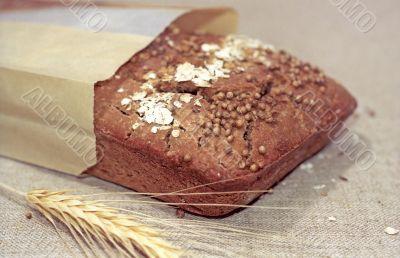 Rye bread on canvas