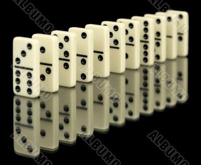 Bones of domino on black