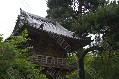 Oriental house in japanese garden