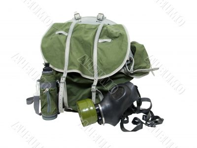 Gas mask and backpack