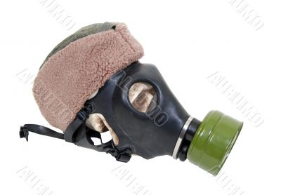 Gas mask and military hat