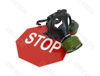 Gas mask and stop sign