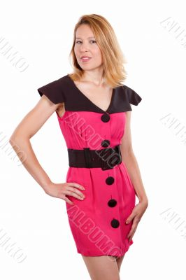 Woman in pink and black dress