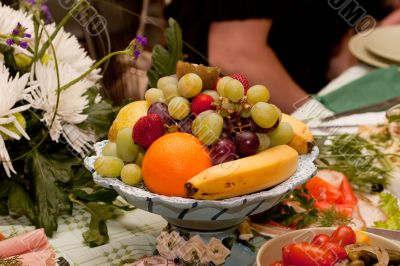 table setting with fruits