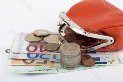 Money euro with purse