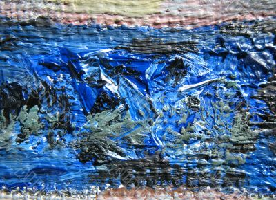 Fragment of linen with the oil paints.