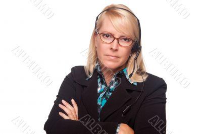 Beautiful Serious Blonde Customer Support Woman