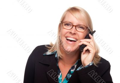 Attractive Blonde Woman Using Phone Laughing