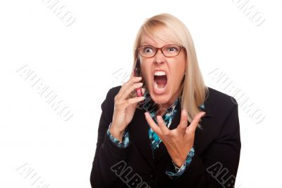 Angry Woman Yells While On Cell Phone