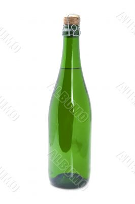 Bottle sparkling wine on white