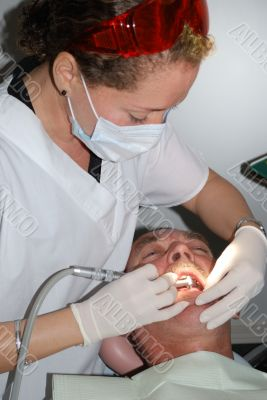 The Medical treatment at the dentist office
