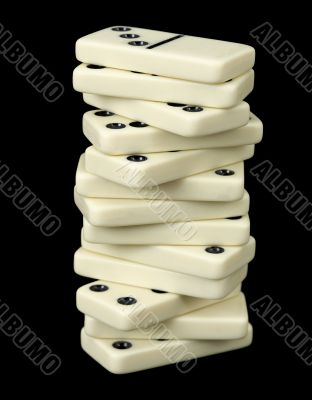 Pile of bones of dominoes