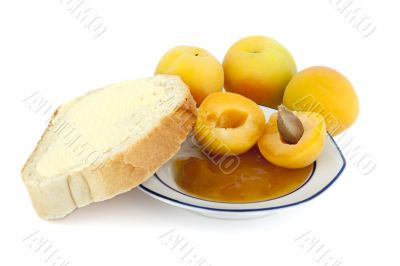 Apricots, apricot jam for breakfast