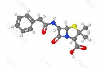 Ball and stick model of penicillin molecule