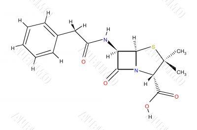 Structural formula of penicillin