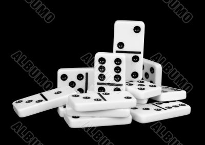 Small group of bones dominoes on a black