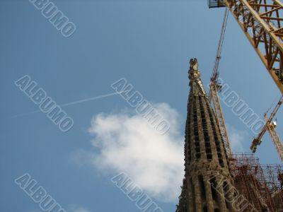 Sagrada Familia Barcelona and the jet plane