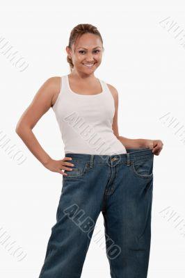Woman in big pants
