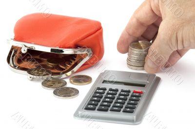 Euro coins, money count