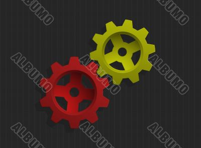 Vector illustration of colored gears