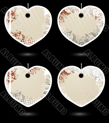 Set of vector beige heart-shaped labels