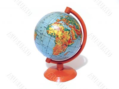 Old school globe on a support isolated over white