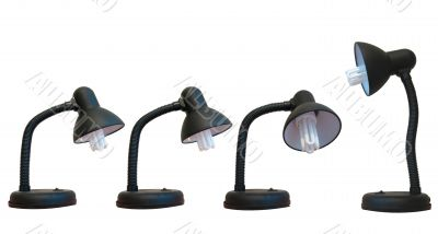 Black desk lamps over white background, teamwork concept