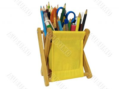 canvas office supply with pen, pencils and scrissors isolated