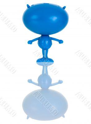 Plastic blue figure of the alien