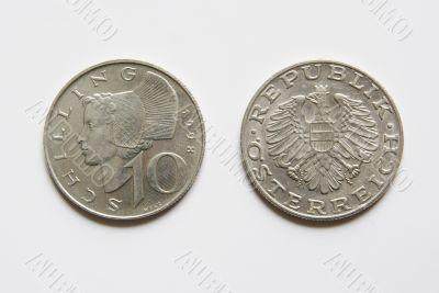 Austrian 10 Schilling coins