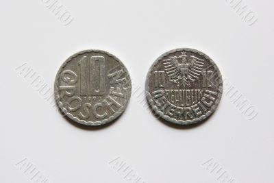 Austrian 10 Groschen coins