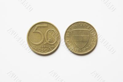 Austrian 50 Groschen coins