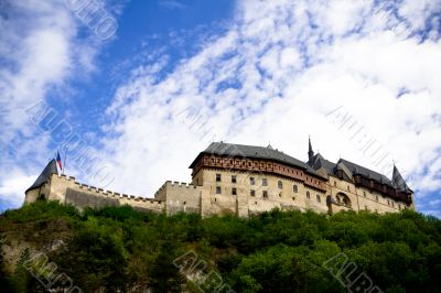Karlstein castle on the hill