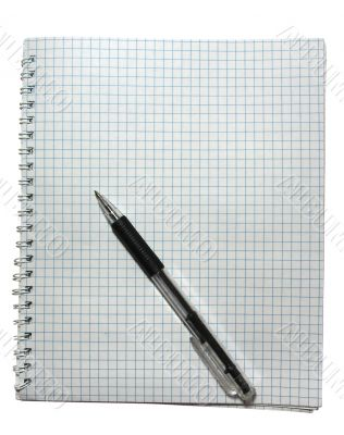 notebook with black pen isolated on white