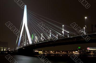 Night view of Erasmus Bridge in Rotterdam