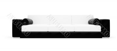 Black and white color sofa isolated view