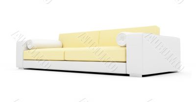 White and yellow color sofa isolated view